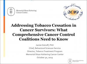 Presentation Title Slide for Addressing Tobacco Cessation in Cancer Survivors