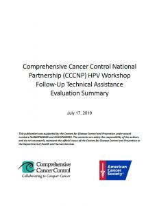 Cover Image of Comprehensive Cancer Control National Partner HPV Workshop